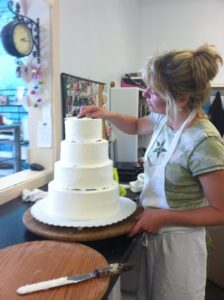 Erica making wedding cake